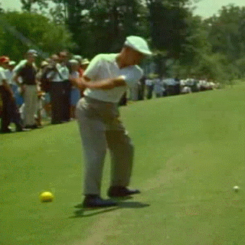 FLEXING THE RIGHT ELBOW: In Frame 9, Ben Hogan's right elbow has reached its maximum height and he has started to flex is to accommodate the rest of his backswing. His right elbow is perhaps 6 inches away from his right hip.