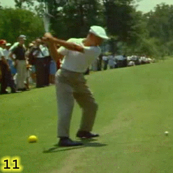 CLOSING THE HIPS: In Frame 11, notice how Ben Hogan has closed his hips, maximizing the distance they will rotate.