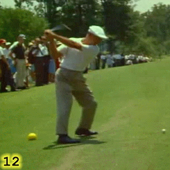 START OF SIDEWAYS PUSH: In Frame 12, Ben Hogan has started pushing sideways, toward the target, with his right leg. This is driving his body to the left and into his left leg. It's important to note that this sideways push is happening before Ben Hogan has reached the top of his backswing. In Frame 12, Ben Hogan has also reached what I call the CHOFA, or CHin On Front Arm, position where his chin is touching his left deltoid. Given the sequencing of his swing, it may be that Hogan used the reaching of the CHOFA position as his cue to start his sideways push. In Frame 12, Hogan's front knee has also reached its point of maximum flexion and his heel is roughly one inch off the ground.