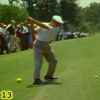 TOP OF BACKSWING: In Frame 13, Ben Hogan is at the top of his backswing and is still pushing sideways into his left leg. Notice that the shaft of his club is pretty much level to the ground and is pointing at the target. Hogan's right foot is still largely on the ground, but his weight is more to the inside of his right foot than the outside of his right foot. Hogan's left heel is still up and his left knee is still flexed.