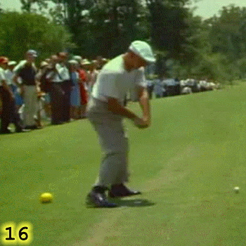 MAINTAINING CONNECTION: In Frame 16, Ben Hogan's left knee is extending, which is helping to drive the rotation of his hips. His back foot is being pulled up off the ground by the rotation of his hips. Notice how Hogan is maintaining Connection; how his back elbow is at his back hip. That means that he is driving his swing with his hips and not his arms.