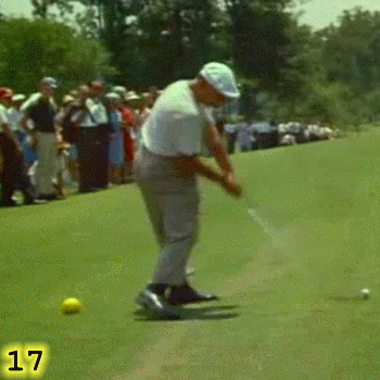 POINT OF CONTACT: In Frame 17, Ben Hogan is just about to reach the Point Of Contact. Notice how, rather than making the Power Triangle, Ben Hogan's right arm is still bent, with his right elbow still at his right hip as he continues to power his swing with his hips and not his arms.