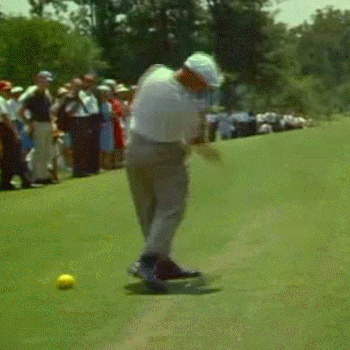 FOLLOW-THROUGH: Only in Frame 18, and after the Point Of Contact, has Ben Hogan's right elbow come off of his back hip.