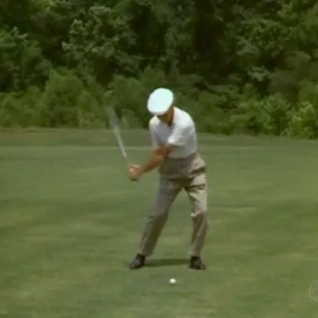 POINT OF CONTACT: In Frame 104, Ben Hogan is at the Point Of Contact. Note how, rather than making the Power Triangle, while Ben Hogan's front arm is straight, his back arm is bent, with his right elbow at his right hip.