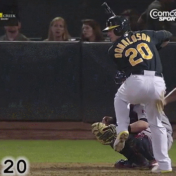 Frame 20: As his front foot drops and his strides into the ball, Josh Donaldson's hands go up and back. Some would call this a hitch. In truth, it's an essential part of Josh Donaldson's Loading process. If he were to eliminate this movement, his swing would be less efficient and less powerful.