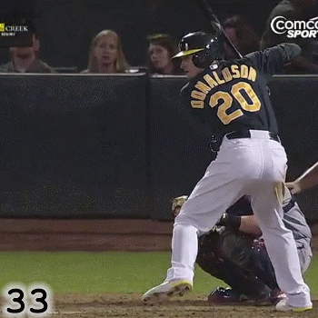 Frame 33: While his front knee extends a bit as he comes out of the top of his leg lift, Josh Donaldson's front knee stops extending in Frame 33. This is important because it enables him to land with his front knee flexed, not straight. That in turn enables him to finish the Rotation of his hips.