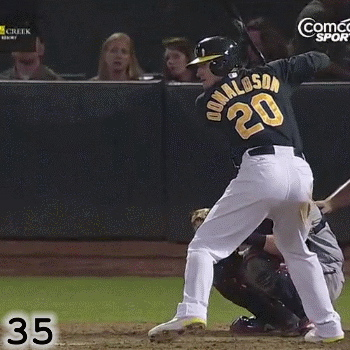 Frame 35: Although it's hard to say exactly how open or closed Josh Donaldson's front foot lands, notice that it starts relatively open and then opens up even more as he goes into foot plant.