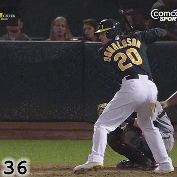Frame 36: While Josh Donaldson's hips are opening up, if you watch the letters on the back of his jersey, you can see that his shoulders still have not start rotating yet.
