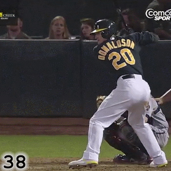 Frame 38: If you watch Josh Donaldson's back foot closely, you can see evidence of what is referred to as The Move. However, because he does a good job of planting and stabilizing his back foot, there is just a hint of this.