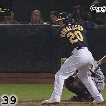 Frame 39: Six frames after his hips started rotating, Josh Donaldson's shoulders have finally started rotating. By loading his hands and his right scap, and holding his shoulders back while his hips start rotating, Josh Donaldson dramatically increases the efficiency of his swing.