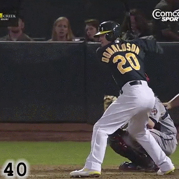Frame 40: As his front foot plants, Josh Donaldson is still pointing the knob of the bat at the catcher. While some would worry that this puts him in a problematic position of Bat Wrap, in truth this is part of how he loads.