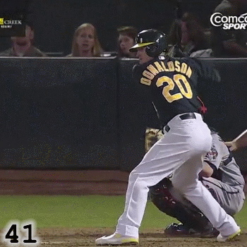 Frame 41: Josh Donaldson's front knee is bent when his front foot lands. This enables him to finish the Rotation of his swing. I would argue that one of Brett Wallace's problems is that he lands with his front knee almost straight, which keeps him from being able to finish his Rotation.