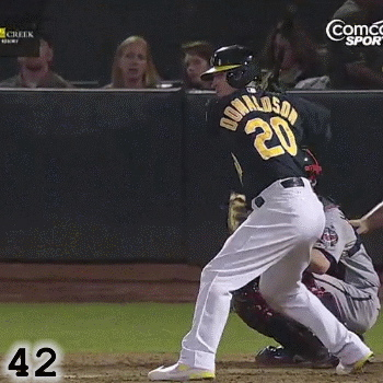 Frame 42: Josh Donaldson's front foot is fully planted. Notice how he does what Matt Holliday does until his front foot is planted.