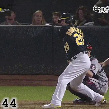 Frame 44: Josh Donaldson's front knee is extending, helping to finish the rotation of his hips. Also, while his head does move some due to the Rotation of his shoulders, it is relatively steady, not moving forward or backward but just a bit up, letting him watch the ball as long as possible.