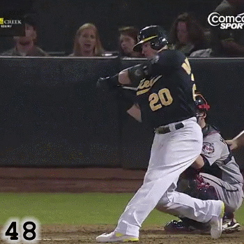 Frame 48: Rather than keeping his front elbow and his front arm down, Josh Donaldson's front elbow has instead risen up into  a position of Alignment. The knob has also moved up in this frame, causing the barrel to fall below the ball and his hands, creating a Slight Uppercut.