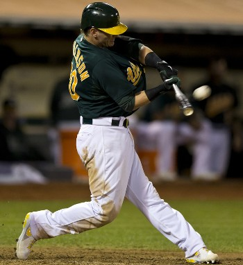 At the Point of Contact: 1. Josh Donaldson's back elbow is bent 90 degrees, not fully extended. 2. The barrel has rotated around his hands and is moving perpendicular to the path of the pitch. 3. Rather than lunging forward, his spine is upright. 4. He has braced and fully extended his front leg. 5. His back knee has been pulled around by the Rotation of his hips and he has been pulled up onto his back toe.