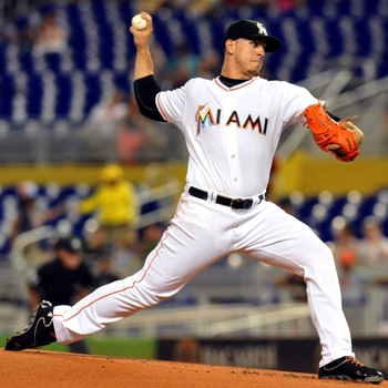 Jose Fernandez Pointing the Ball at Second Base