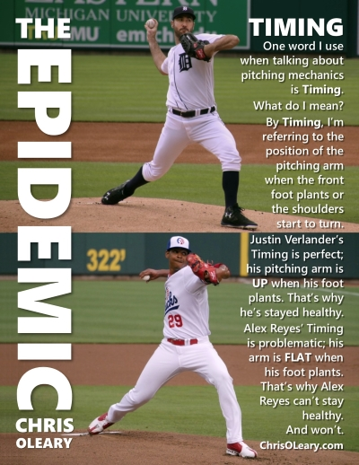 One word I use when talking about pitching mechanics is Timing. What do I mean? By Timing, I am referring to the position of the pitching arm when the front foot plants or the shoulders start to turn. Justin Verlanders Timing is perfect; his pitching arm is UP when his foot plants. That is why he is stayed healthy. Alex Reyes Timing is problematic; his arm is FLAT when his foot plants. That is why Alex Reyes cant stay healthy. And wont. ChrisOLeary.com